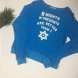 Wildfox size large blue Cotton jumper (sweatshirt)
